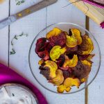 Beet Chips with Thyme & Balsamic Goat Cheese Dip