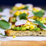 Grilled Corn Crostini with Avocado & Radish