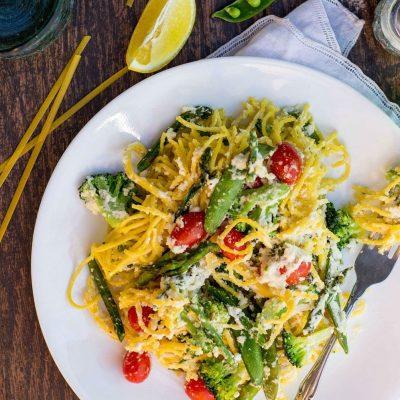 Pasta with Lemon Almond Ricotta & Spring Vegetables {gf+v}