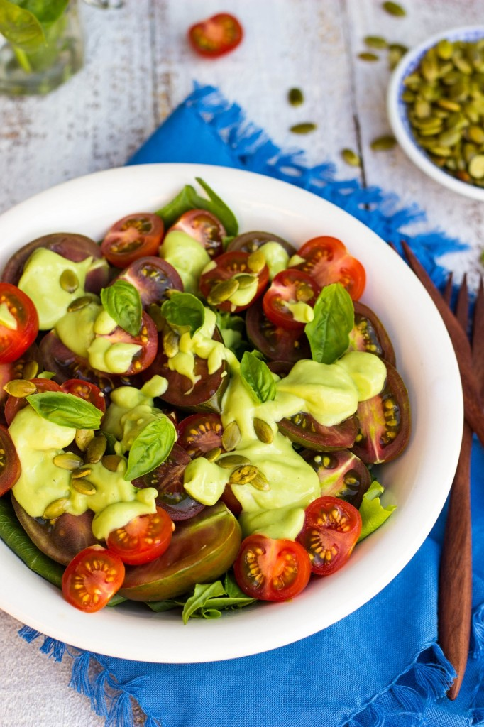 Heirloom Tomato Salad with a Creamy Avocado & Basil Dressing {gf+v+oil ...