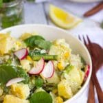 Grilled Asparagus & Corn Potato Salad with a Creamy Lemon Dill Dijon Dressing {gf+vegan option}