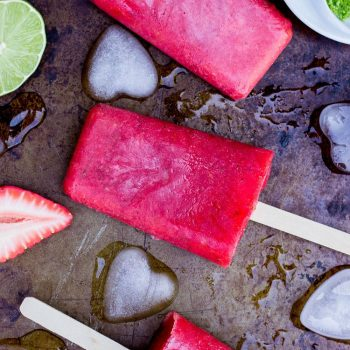 Strawberry Rhubard & Lime Popsicles