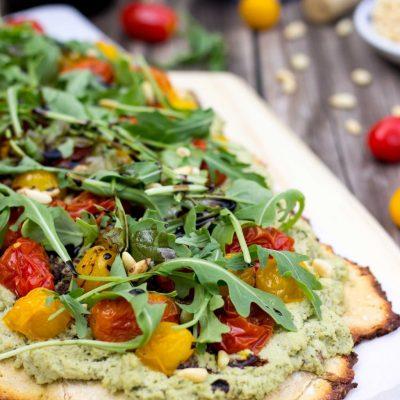 Basil & Roasted Garlic Ricotta Pizza with Roasted Cherry Tomatoes, Arugula & Baslamic Reduction {gf+v}
