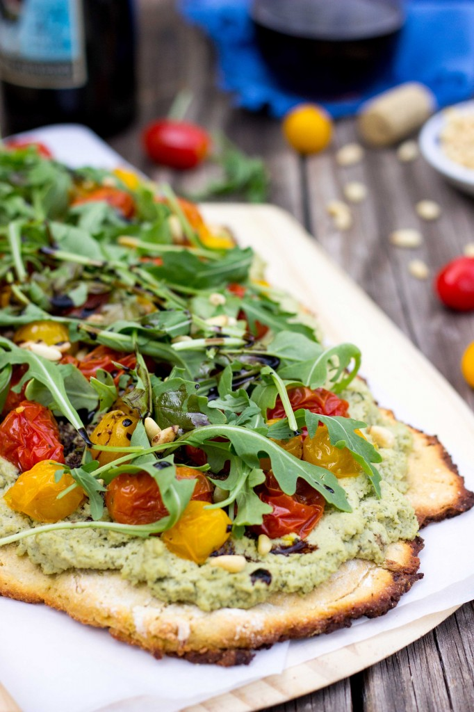 Basil & Roasted Garlic Ricotta Pizza with Arugula & Balsamic Reduction-8816