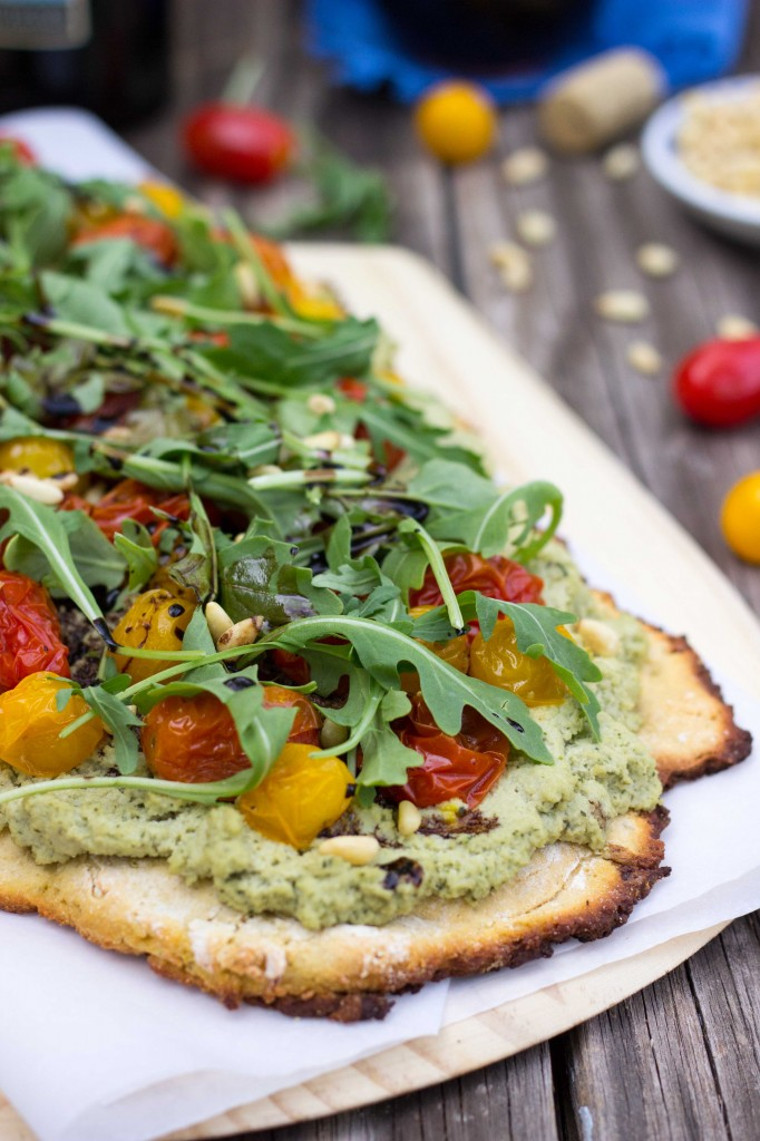 Basil & Roasted Garlic Ricotta Pizza with Roasted Cherry Tomatoes ...
