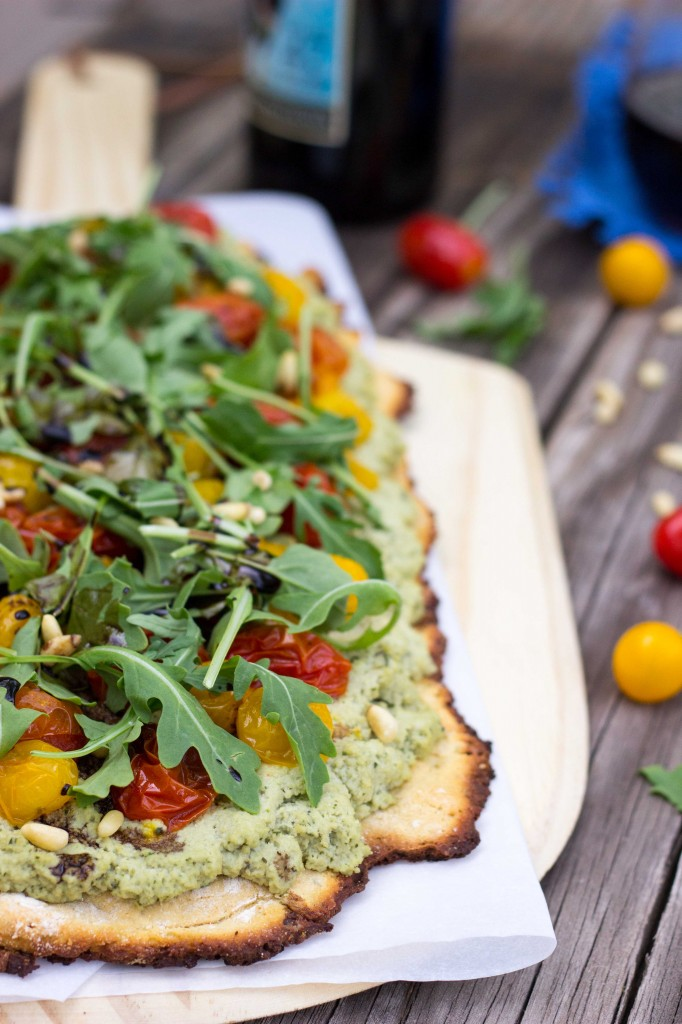 Basil & Roasted Garlic Ricotta Pizza with Arugula & Balsamic Reduction-8822