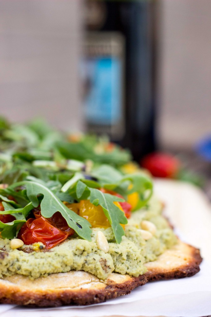 Basil & Roasted Garlic Ricotta Pizza with Arugula & Balsamic Reduction-8823