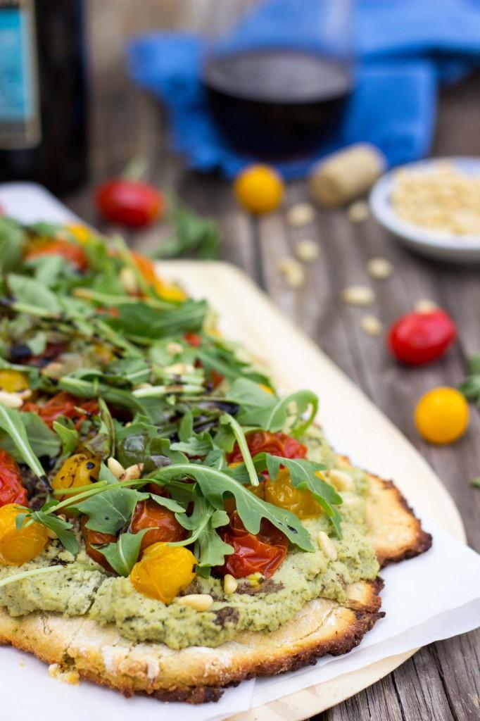 Basil & Roasted Garlic Ricotta Pizza with Arugula & Balsamic Reduction-8832
