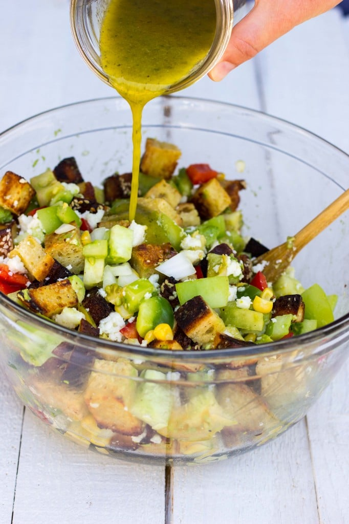 Green Tomato Southwest Panzanella Salad with Cilantro Lime Vinatgrette-9550