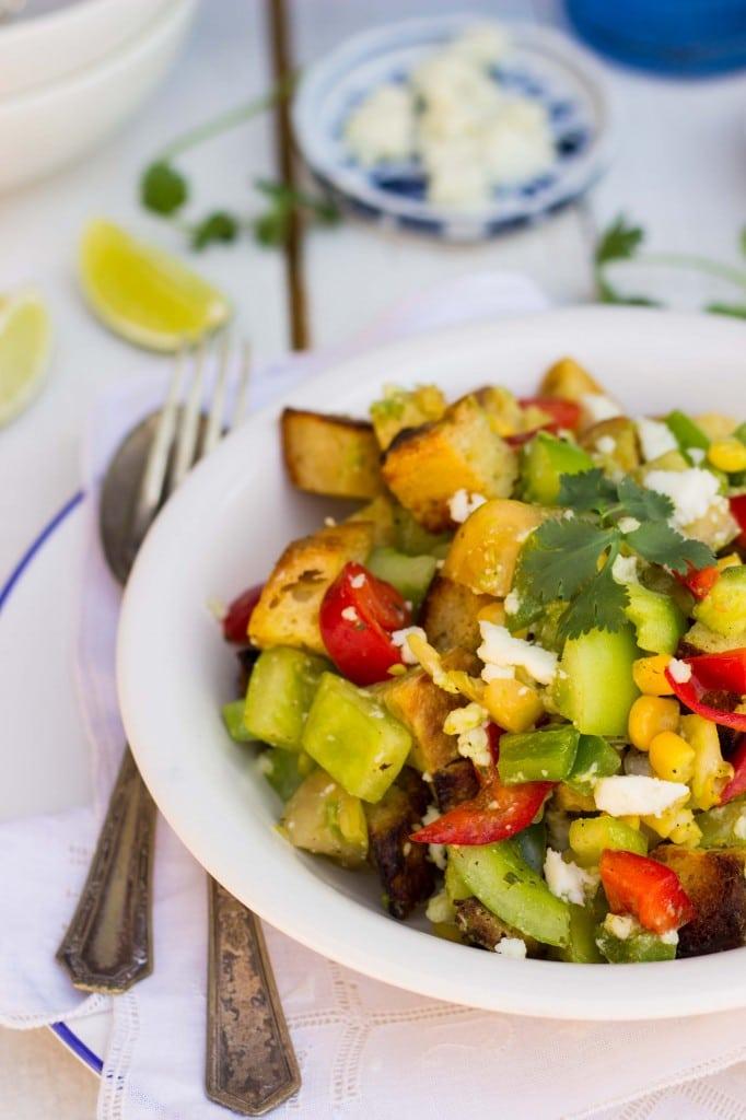 Green Tomato Southwest Panzanella Salad with Cilantro Lime Vinatgretteauto-9616