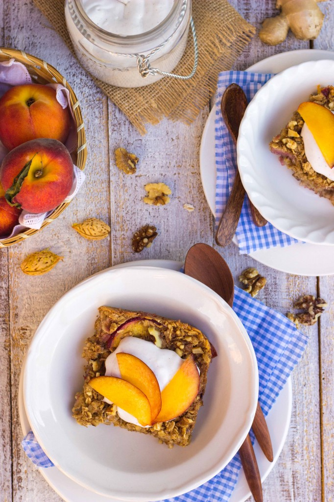 Peach Oatmeal Bake with Whipped Coconut Cream-8993