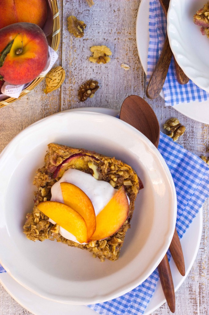 Peach Oatmeal Bake with Whipped Coconut Cream-8996