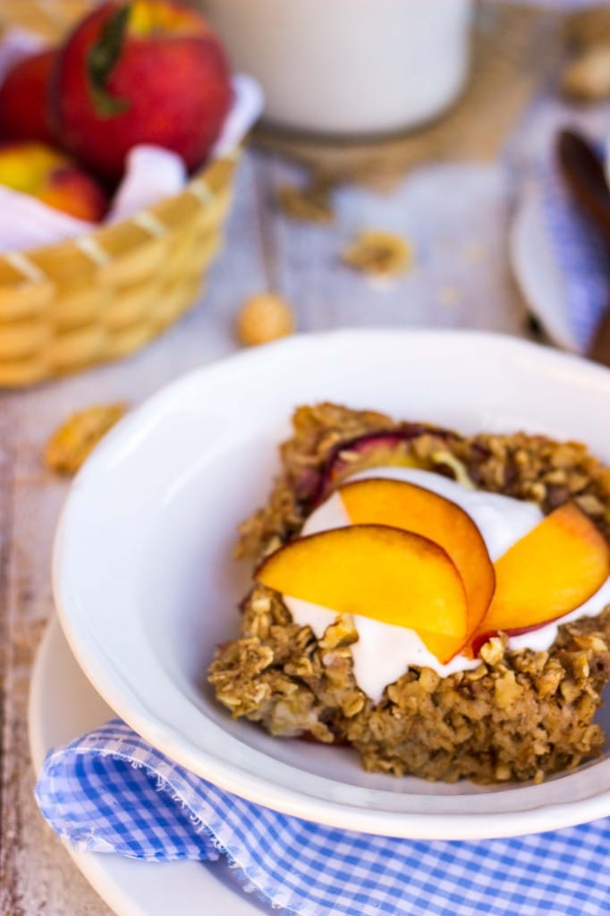 Peach Oatmeal Bake with Whipped Coconut Cream-9018