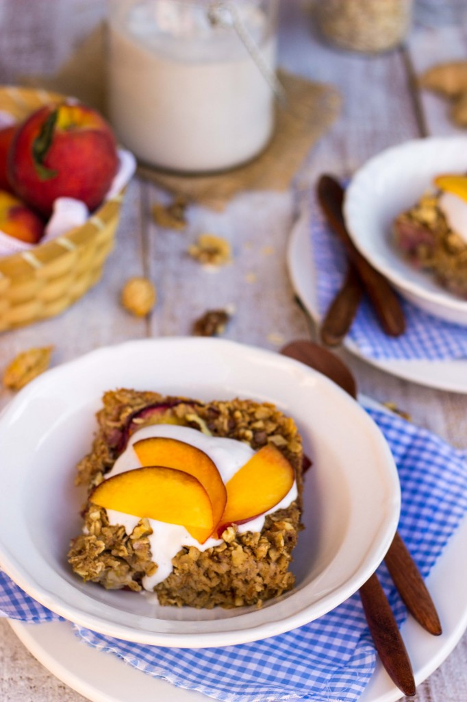 Peach Oatmeal Bake with Whipped Coconut Cream-9040