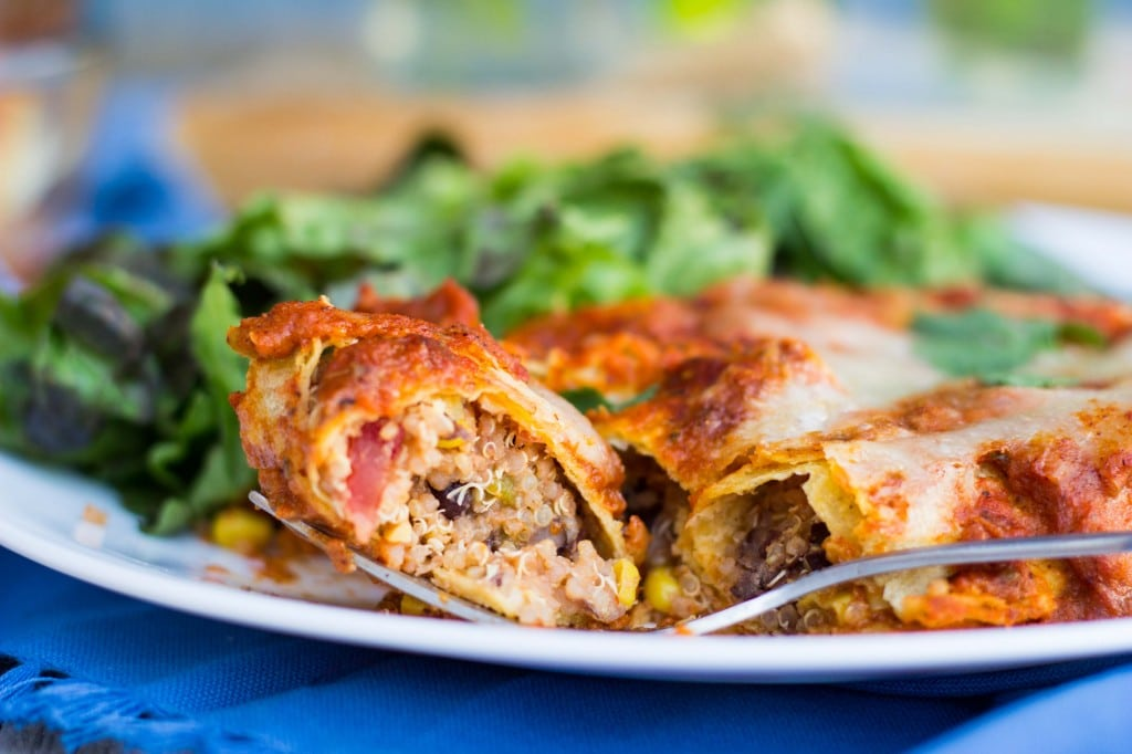 Quinoa, Black Bean & Green Chili Enchiladas with Roasted Red Pepper ...