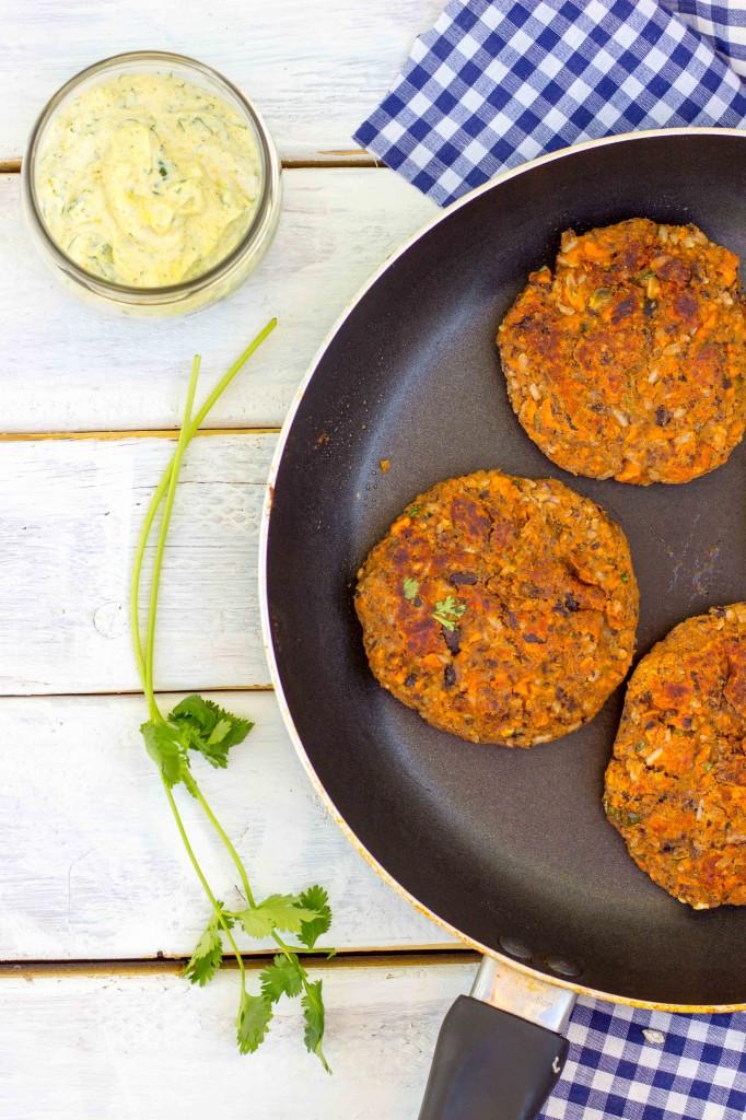 Smokey Sweet Potato, Black Bean & Brown Rice Veggie Burgers with Curry Cilantro Mayo-9940