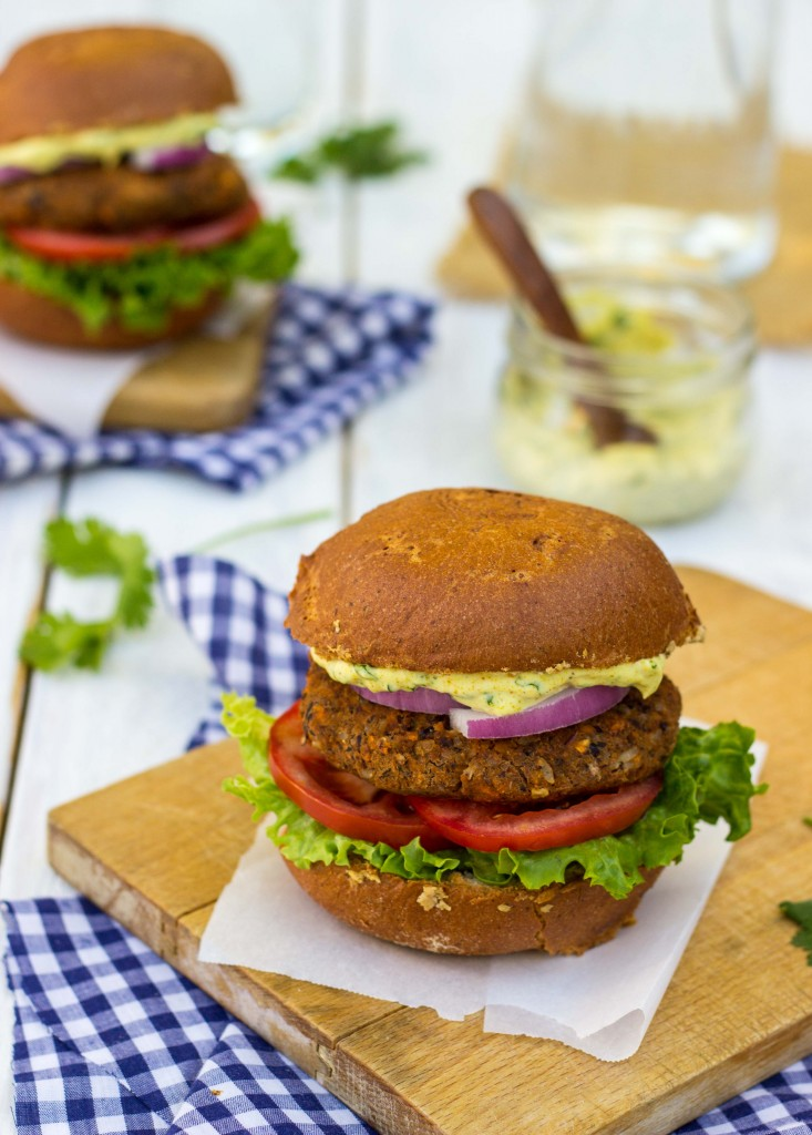 Smokey Sweet Potato, Black Bean & Brown Rice Veggie Burgers with Curry Cilantro Mayo-9968