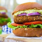 Smokey Sweet Potato, Black Bean & Brown Rice Veggie Burgers with Curry Cilantro Mayo {gf+v}