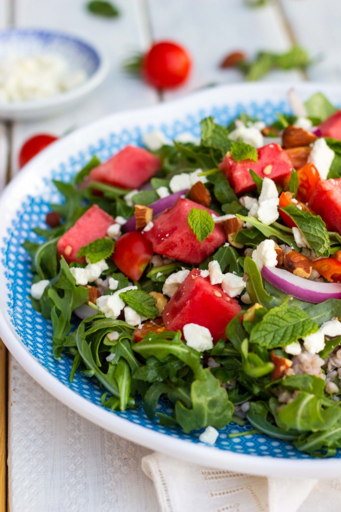 Summer Arugula Salad with Watermelon, Feta & Buckwheat-9793