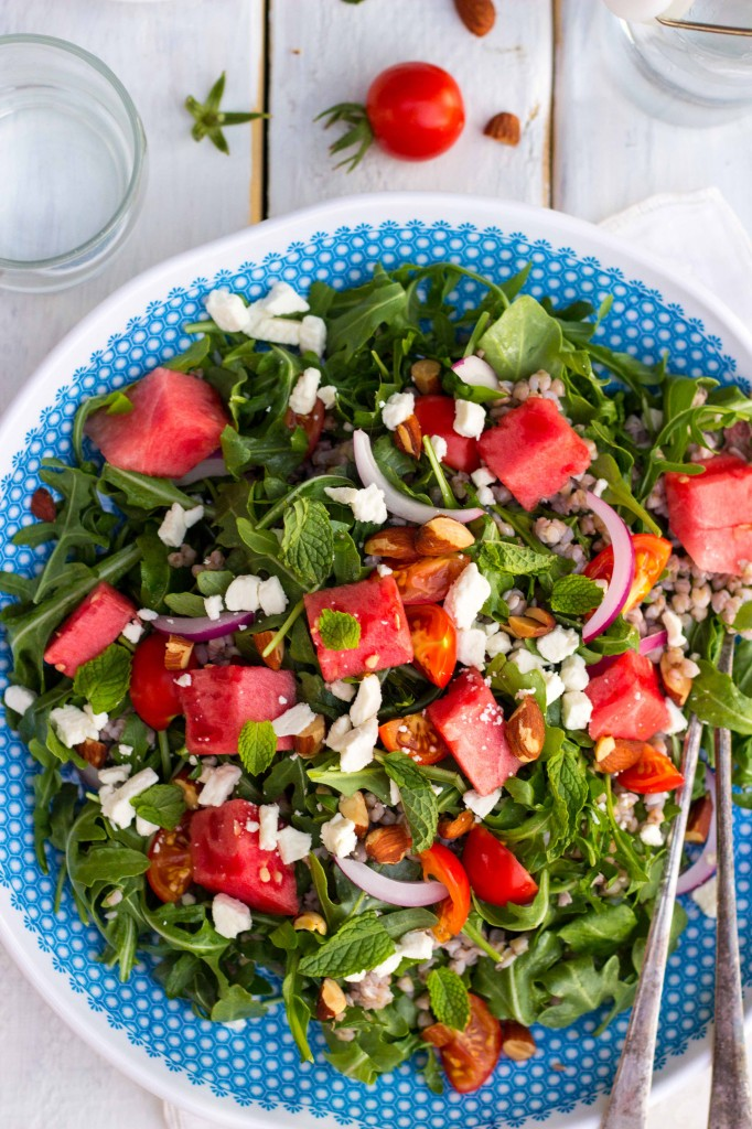Summer Arugula Salad with Watermelon, Feta & Buckwheat-9815