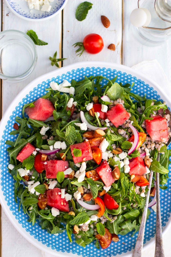 Summer Arugula Salad with Watermelon, Feta & Buckwheat-9816