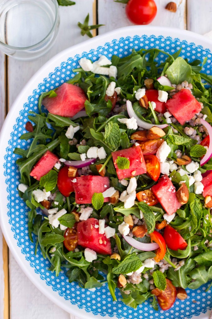 Summer Arugula Salad with Watermelon, Feta & Buckwheat-9823