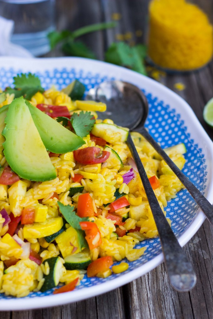Calabacitas Orzo Salad with Cilantro Lime Dressing {gf+v}-0674