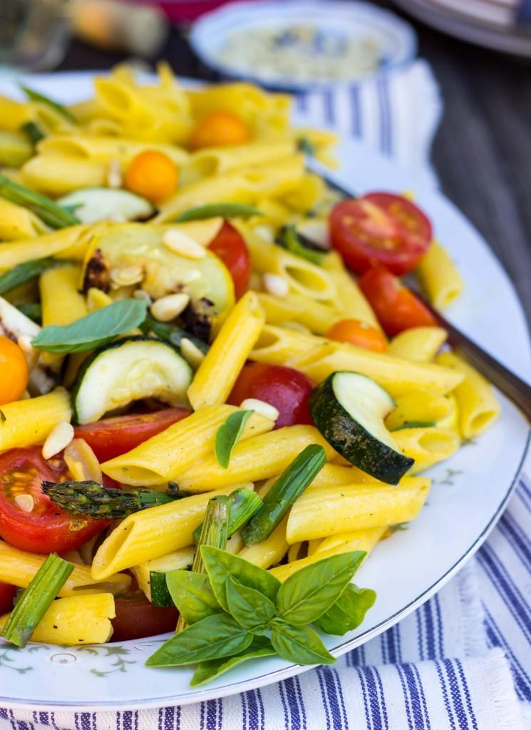 Grilled Vegetable Summer Pasta Salad With A Basil Roasted Garlic Vinaigrette 9329