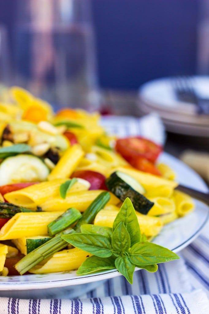 Grilled Vegetable Summer Pasta Salad with a Basil & Roasted Garlic Vinaigrette -9338
