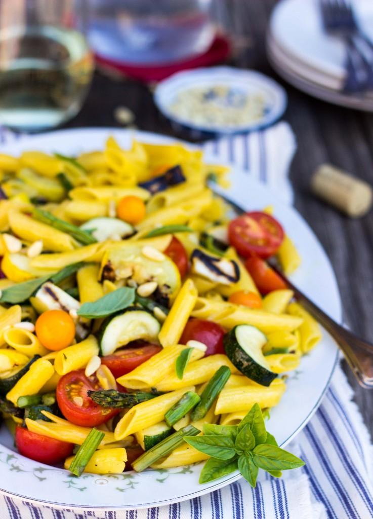 Grilled Vegetable Summer Pasta Salad with a Basil & Roasted Garlic Vinaigrette -9361