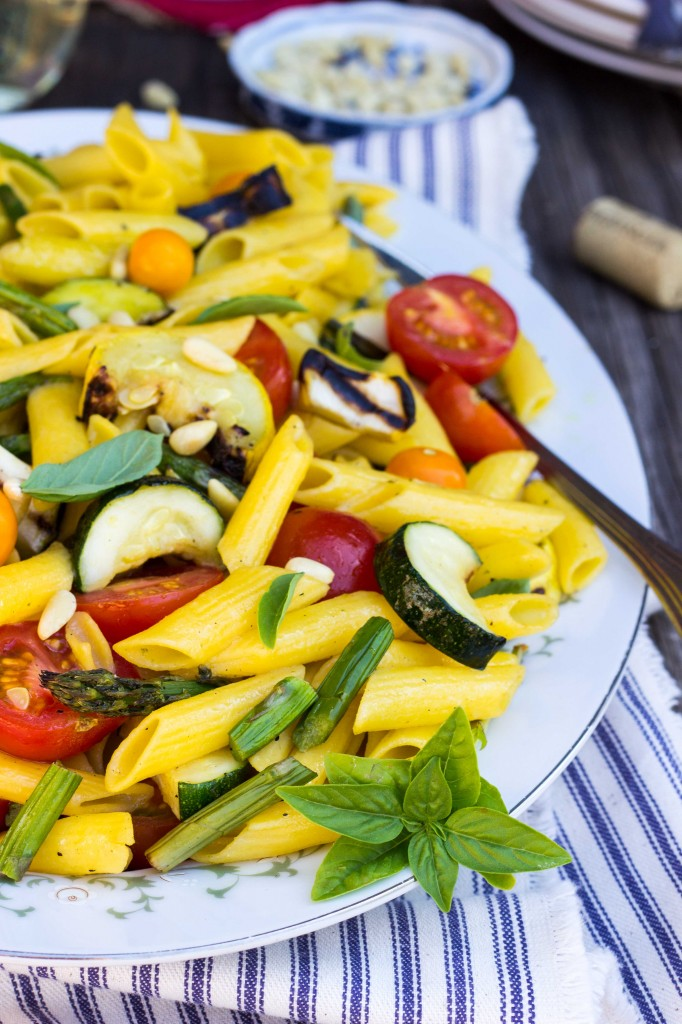 Grilled Vegetable Summer Pasta Salad with a Basil  Roasted Garlic