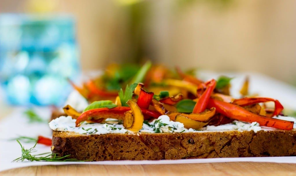 Herbed Goat Cheese Toasts with Balsamic Roasted Sweet Peppers-0121