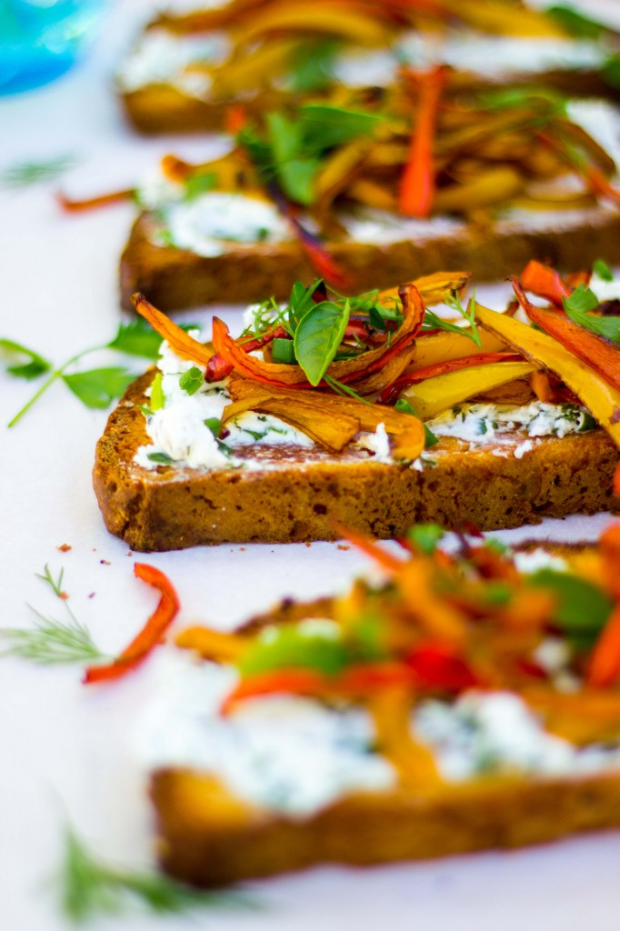 Herbed Goat Cheese Toasts with Balsamic Roasted Sweet Peppers-0126