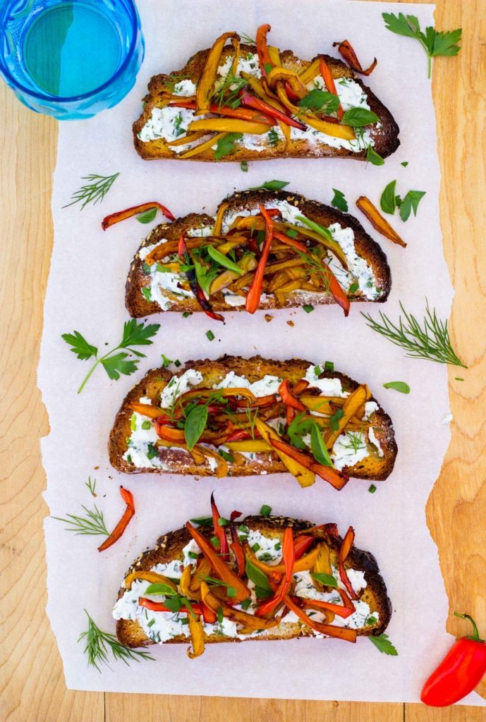 Herbed Goat Cheese Toasts with Balsamic Roasted Sweet Peppers-0134