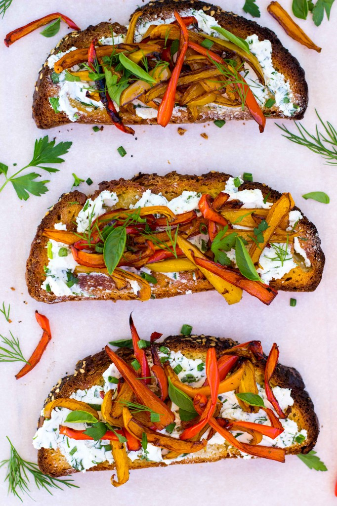 Herbed Goat Cheese Toasts with Balsamic Roasted Sweet Peppers-0149
