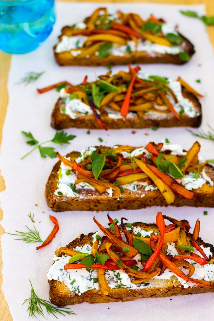 Herbed Goat Cheese Toasts with Balsamic Roasted Sweet Peppers - She ...