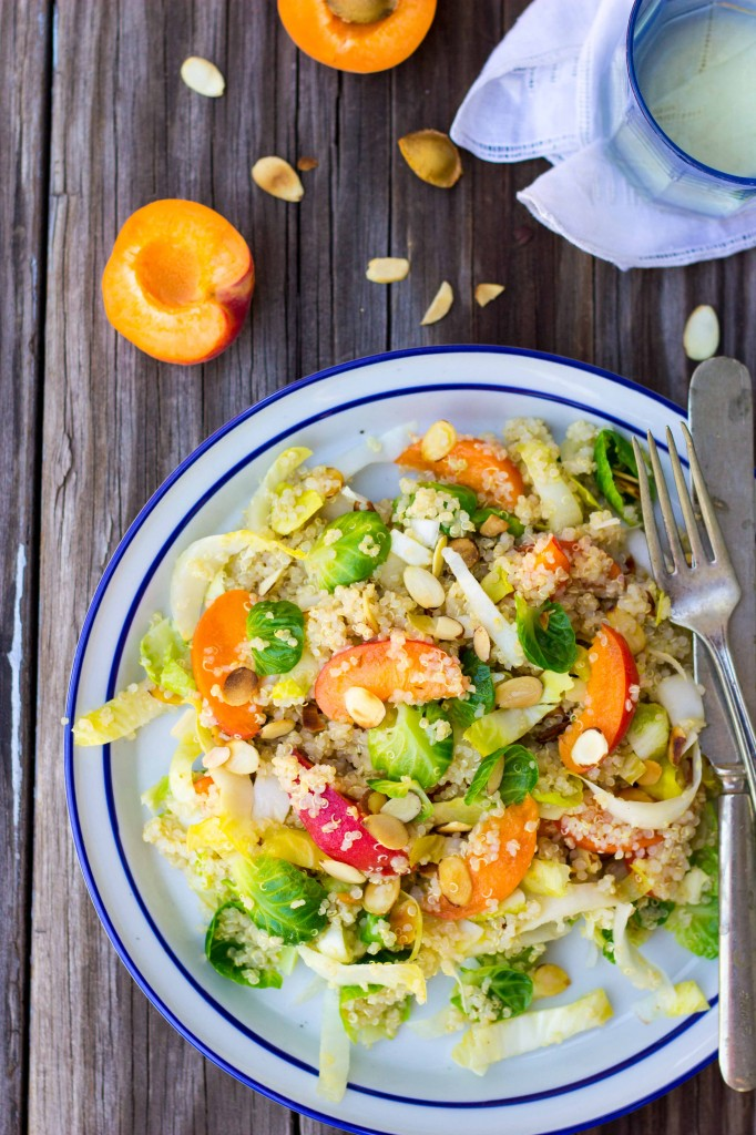 Quinoa Salad with Apricots, Endive, Brussels Sprout Leaves & Toasted Almonds-0232