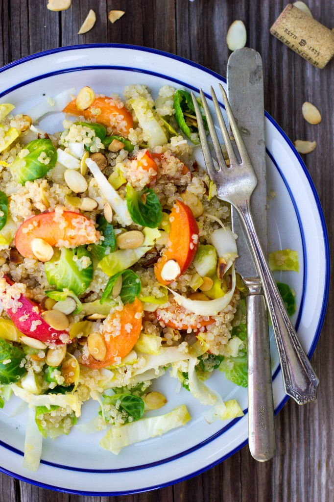 Quinoa Salad with Apricots, Endive, Brussels Sprout Leaves & Toasted Almonds-0245