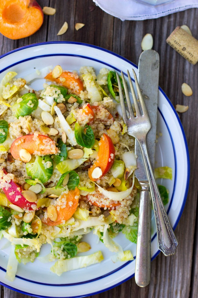Quinoa Salad with Apricots, Endive, Brussels Sprout Leaves & Toasted Almonds-0259