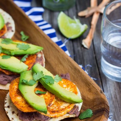 Roasted Sweet Potato, Black Bean & Avocado Tostadas