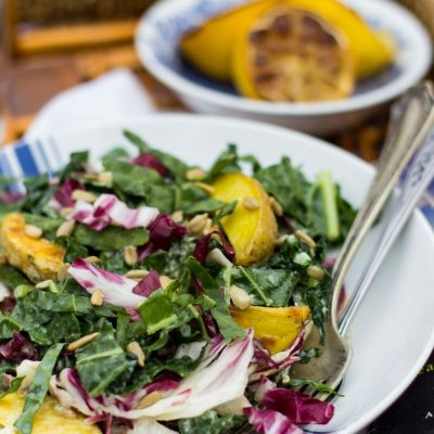 Kale, Radicchio, Roasted Potato & Chickpea Salad with a Creamy Grilled Lemon Vinaigrette