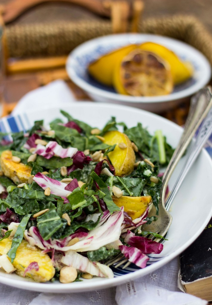 Kale Radicchio Roasted Potato & Chickpea Salad with a Creamy Grilled Lemon Vinaigrette-1103
