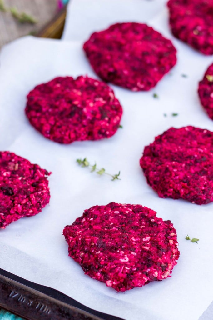 Roasted Beet, Brown Rice & Chickpea Burgers with Crispy Kale & a Thyme Tahini Sauce-3874
