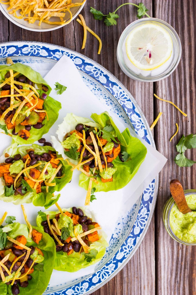 Sweet Potato & Black Bean Lettuce Wraps with Crispy Tortilla Strips & Smashed Avocado with Lime-3759