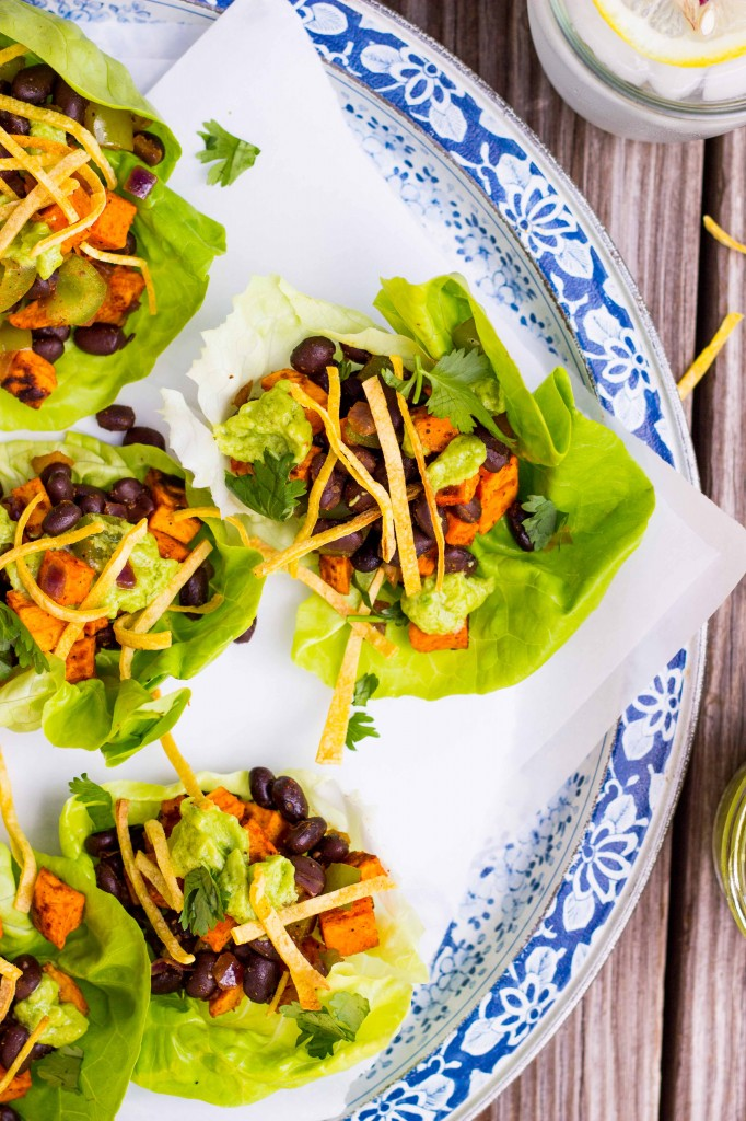 Sweet Potato & Black Bean Lettuce Wraps with Crispy Tortilla Strips & Smashed Avocado with Lime-3761