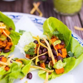 Sweet Potato & Black Bean Lettuce Wraps with Crispy Tortilla Strips & Smashed Avocado with Lime