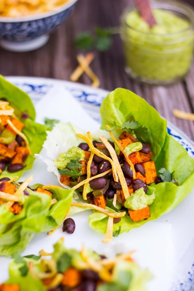 Sweet Potato & Black Bean Lettuce Wraps with Crispy Tortilla Strips & Smashed Avocado with Lime-3770