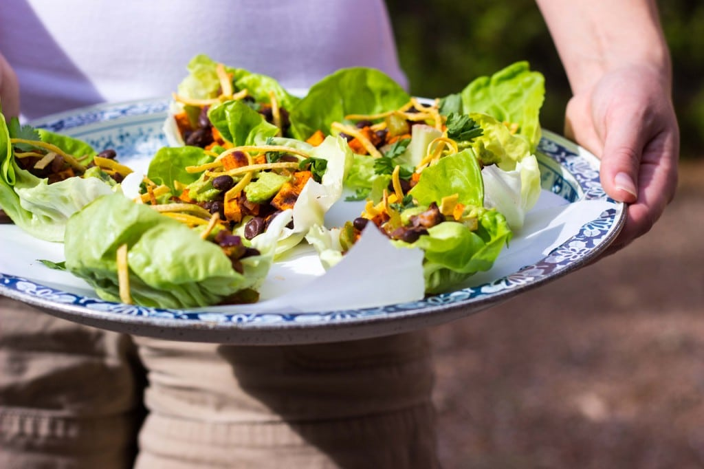 Sweet Potato & Black Bean Lettuce Wraps with Crispy Tortilla Strips & Smashed Avocado with Lime-3807