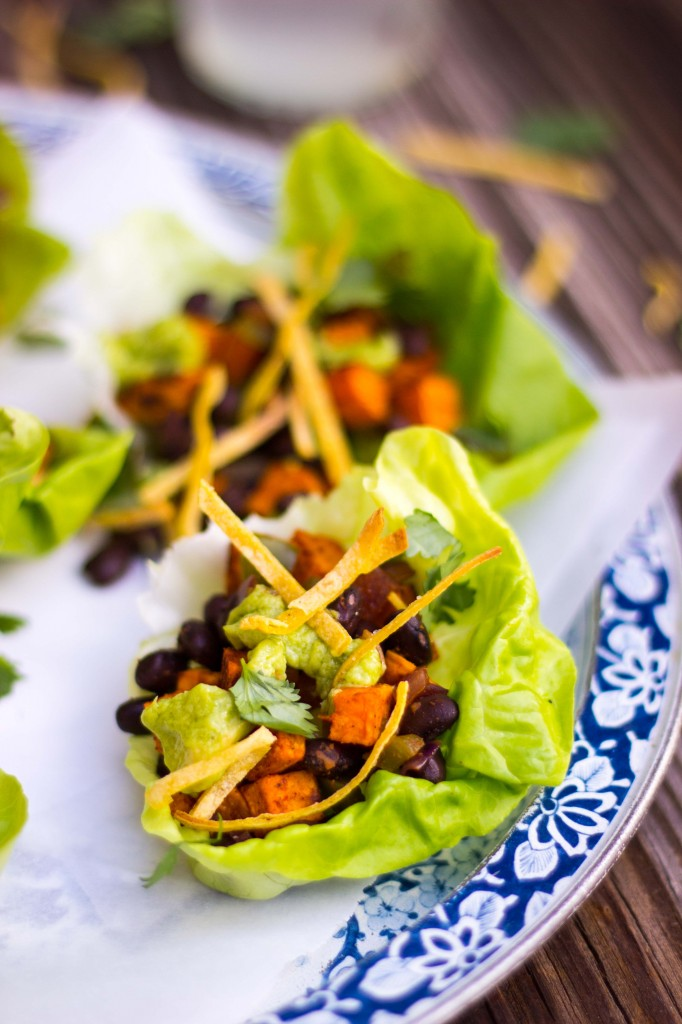Sweet Potato & Black Bean Lettuce Wraps with Crispy Tortilla Strips & Smashed Avocado with Lime-3811