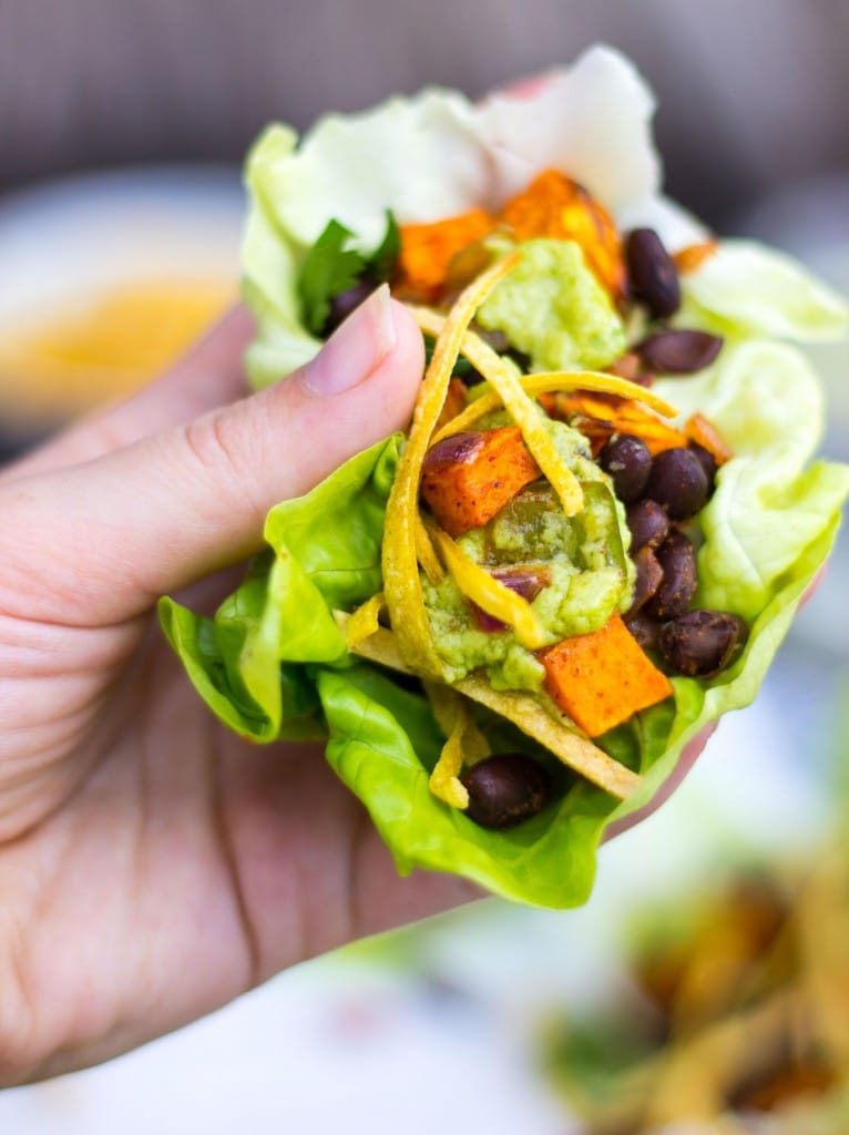 Sweet Potato & Black Bean Lettuce Wraps with Crispy Tortilla Strips & Smashed Avocado with Lime-3824